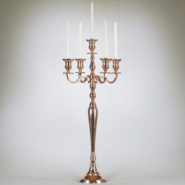 kerzenhalter 5 armig stabkerzen kerzenständer in rose rosegold gold kupfer hochzeit verleih von dekoration
