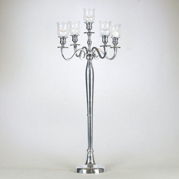 kerzenständer silber mit teelichtglas aufsatz für teelichter mieten kaufen leihen hochzeits deko verleih