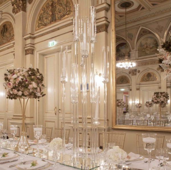 Kerzenständer groß glas Acryl stabserzen durchsichtig 10 Kerzen hochzeit mieten leihen verleih sunnydeko