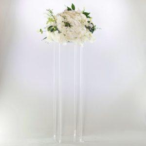 Blumen Ständer und Halter Cube geo eckig acryl durchsicht mieten für Hochzeitsdeko Verleih Tischdeko 4