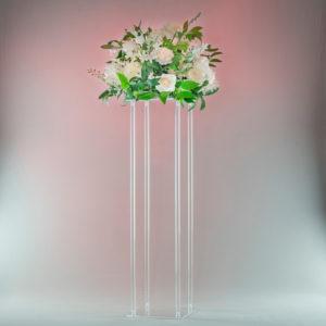 Cubos Blumenständer aus Glas Acryl transparent für Blumen als Centerpiece Deko Verleih von Tischdeko für Hochzeit und Event1