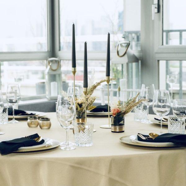 Kerzenständer Stil Dekoverleih und Hochzeits Saal schwarz gold Dekoration für Hochzeit mieten und leihen im Boho Design RLP NRW Bayern Hessen 4