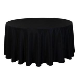Tischdecke tisch decke wäsche tischwäsche mieten rund runde für hochzeit runde tischdecke leihen verleih reinigung günstig billig sunnydeko farbe schwarz