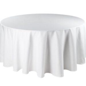 Tischdecke tisch decke wäsche tischwäsche mieten rund runde für hochzeit runde tischdecke leihen verleih reinigung günstig billig sunnydeko farbe weiss