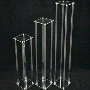 cubos acryl transparent blumenständer glas modern geometrisch leihen und mieten für hochzeit