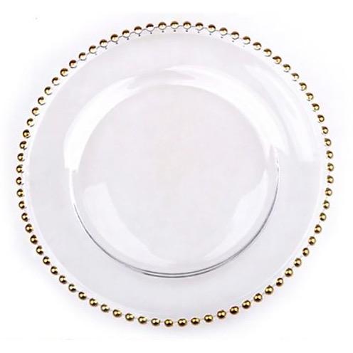 platzteller aus glas mit goldenen noppen leihen für hochzeit
