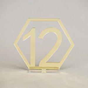 Tischnummer geometrisch geo gold und silber hexagon für tischdeko mieten hochzeit und event leihen und deko verleih 2
