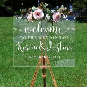 Personalisierter Willkommens Aufsteller für Hochzeit mit Name vom Brautpaar durchsichtig Leinwand Staffelei