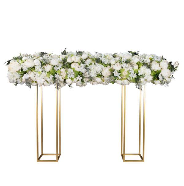 Blumengirlande Tischdeko gold weiß grün greenery hochzeit hochzeitsdeko mieten leihen sunnydeko blumen kunstblumen günstig