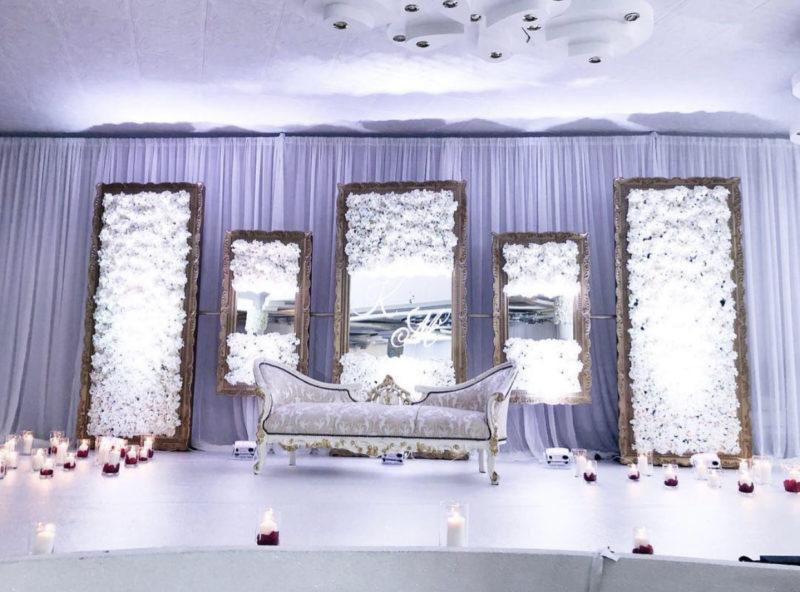 rückwand blumenwand fotowand blumen spiegel mieten deutsch russische türkische hochzeit hochzeitsdeko leihen aufbau sunnydeko rhein main