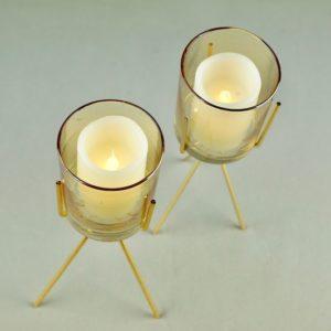 3Feet Kerzenhalter für Stumpkerzen Kerzenständer aus gold mit glas für Hochzeit mieten dekorations verleih tischdeko günsti 2