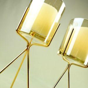 3Feet Kerzenhalter für Stumpkerzen Kerzenständer aus gold mit glas für Hochzeit mieten dekorations verleih tischdeko günsti 3