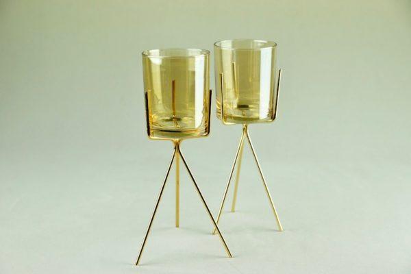 3Feet Kerzenhalter für Stumpkerzen Kerzenständer aus gold mit glas für Hochzeit mieten dekorations verleih tischdeko günsti 1