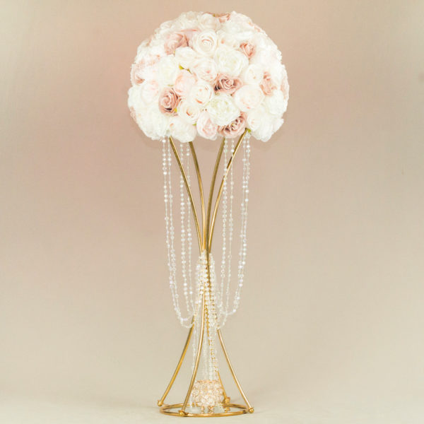 Blumenständer Blumen Ständer und Halter aus Gold Curvy gebogen für Hochzeit mieten und leihen Deko Verleih StasEvents 1