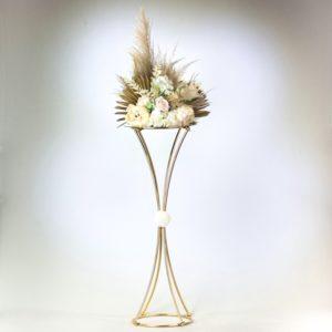 Blumenständer für Blumen als Ständer in Gold mit Pampas Gras Boho Chic für Hochzeit mieten und leihen Deko Verleih