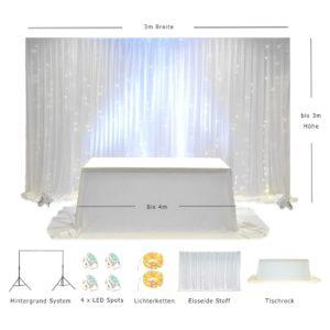 Brautpaartisch und Rückwand Icy LED 3 x 3 Kolage