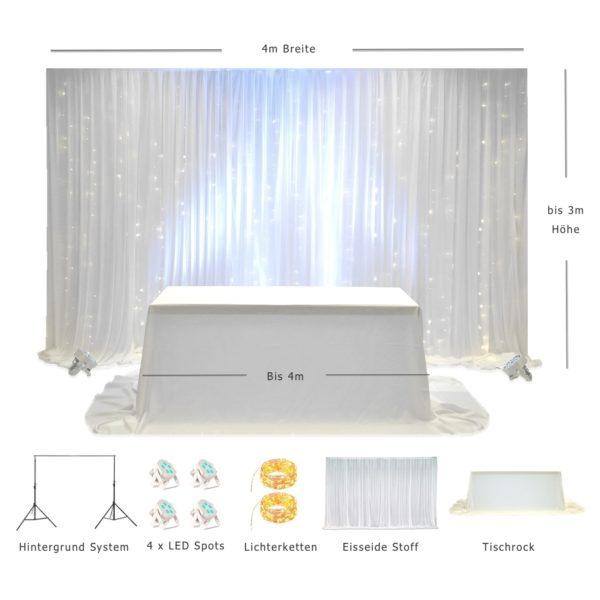 Brautpaartisch und Rückwand Icy LED 4 x 3 Kolage