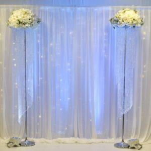 Crystal Säulen mit Blumen Eingang mieten Dekoration und Hochzeitsdeko Verleih 1