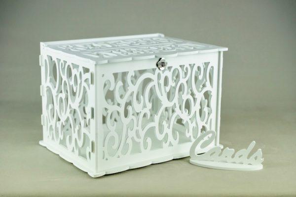 Geschenkebox für Geschenke und Karten für Hochzeit mieten und leihen in weiß verspielt barock wie vintage verleih stasevents 2