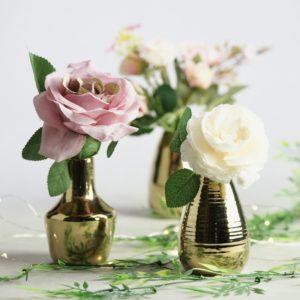Glas Trunky Gläschen Boho Chic Vintage Greenery Hochzeit Deko mieten und Dekoration verleih gold günstig StasEvents 1