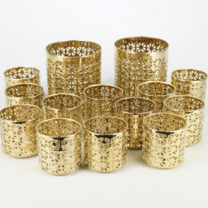 Kerzenhalter Grid Gitter glas halter kerzen ständer kerzenständer gold mieten hochzeit 1