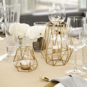 Kerzenhalter Kerzenständer Boho 1 geometrisch gold goldener Kerzen Ständer Bohemian Boho Chic mieten und leihen für Hochzeit beim Dekoverleih 1