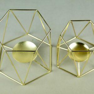 Kerzenständer für Bohemian Chic Hochzeit Boho Kerzenhalter gold draht geometrisch mieten und leihen für hochzeit verleih stasevents three 1