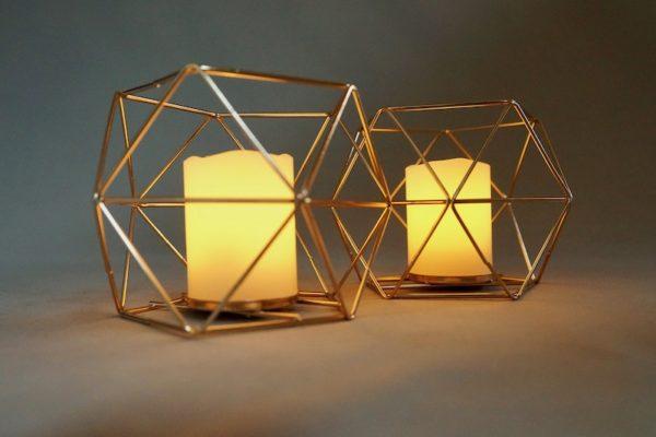 Kerzenständer für Bohemian Chic Hochzeit Boho Kerzenhalter gold draht geometrisch mieten und leihen für hochzeit verleih stasevents two günstig