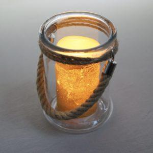 Kordelglas für Blumen Kerzen. und Lichterketten für eure Hochzeit leihen mit Kordel als Glas für Vintage Deko Verleih 1