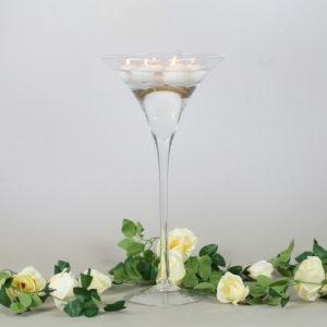 Martini Glas XXL Vase groß für Hochzeit leihen als Tischdeko mieten 70cm und 50cm Dekoration Verleih Schwimmkerzen Blumenvase Darmstadt
