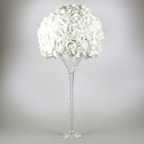 Martini Glas XXL PureWhite Vase groß für Hochzeit leihen als Tischdeko mieten 70cm und 50cm Dekoration Verleih Schwimmkerzen Blumenvase Frankfurt