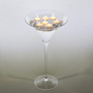 Martini Glas XXL Vase groß für Hochzeit leihen als Tischdeko mieten 70cm und 50cm Dekoration Verleih Schwimmkerzen Blumenvase Mainz