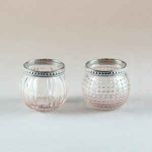Quechera Glas Teelichtglas dezent silber rose vintage verspielt für hochzeit mieten und leihen hochzeit stasevents 1