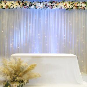 Rückwand Hintergrund Wand Abdeckwand für Hochzeit und Event leihen mit Stoff Beleuchtung und Blumen Deko Verleih Dekoration Hochzeitsdeko StasEvents Wiesbaden