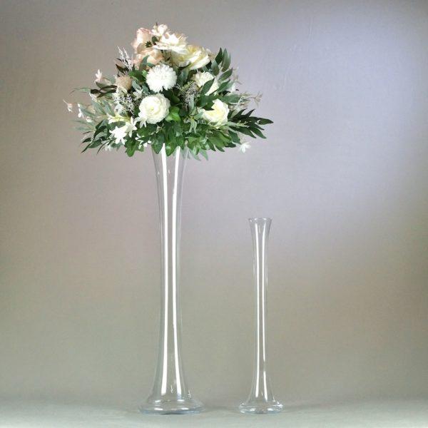 Shisha Vase aus Glas für Blumen 50cm 70cm für Hochzeit mieten leihen elegant groß Hochzeitsdeko Verleih Deko günstig