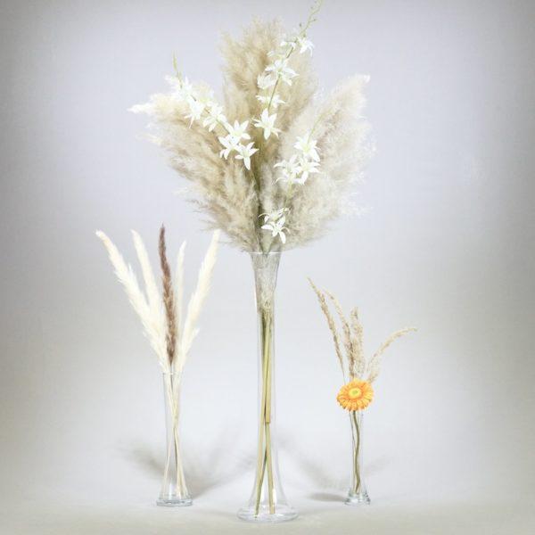 Shisha Vase aus Glas konische Vase für Blumen und Trockenblumen Pampas Gras Dekoration mieten und leihen für Hochzeit StasEvents Boho Chic Design 1