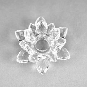 Stabkerzenhalter Lotus aus Glas für Kerzen mieten Dekoration leihen Stasevents 5