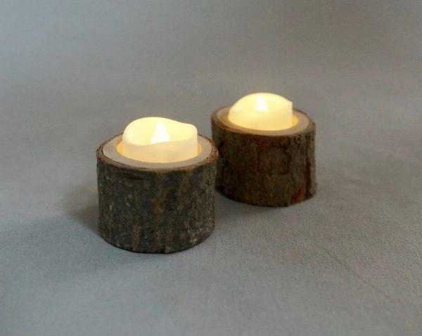 Teelichtglas Teelicht Halter aus Holz für Vintage Deko leihen und mieten Hochzeit Verleih 1