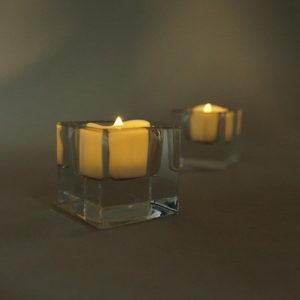 Teelichtglas eckig Teelicht glas würfel quadrat für Hochzeit mieten deko verleih Vorschau