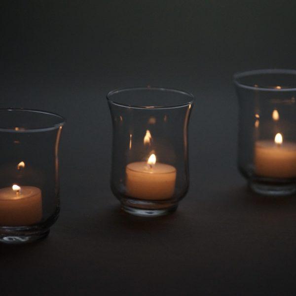 Teelichtglas für Hochzeit mieten zum Teelicht Glas Deko Verleih Hurricane Sandra Rich von StasEvents