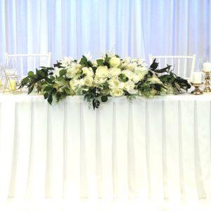 Tischdeko dekoverleih Hochzeit tischrock brautpaartisch voile skirting mieten