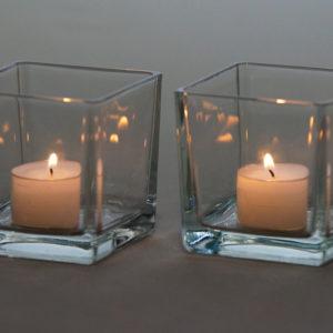 Würfelglas Würfel Glas eckig für Kerzen und Blumen für Hochzeit mieten Deko Verleih 1