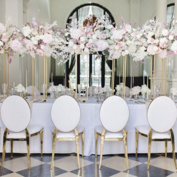 azalea arabella stuhl rund lehne weiss gold luxus luxury mieten hochzeit hochzeitsdeko chiavari sunnydeko gold
