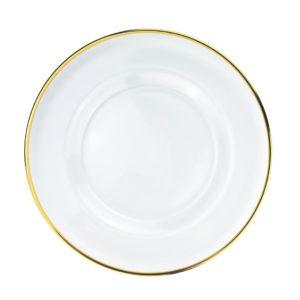 Platzteller aus Glas mit Rand (silber und gold) - Calssy