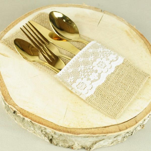 Besteck Beutel Jute Besteckbeutel für Hochzeit mieten greenery und vintage Outdoor Hochzeitsdeko 1