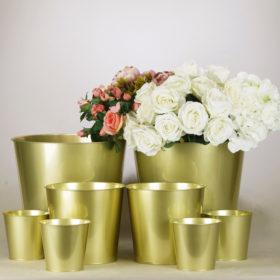 Blumen Eimer Blumeneimer als Vase oder Tischdeko Vintage in gold für Hochzeit mieten von StasEvents Verleih 1