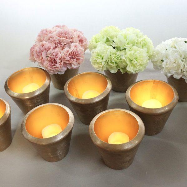 Caeser Set Tischdeko und Hochzeits Dekoration leihen aus Antik gold mit Muster Vase für Hochzeit Deko mieten bronze kupfer StasEvents 5