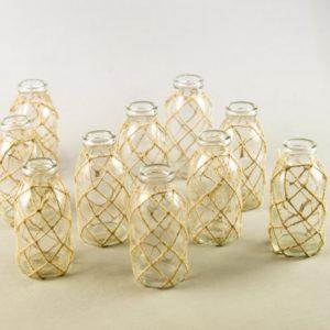Flaschen Fläschchen Set mit Jute kleine Gläser für BLumen Vintage Greenery Deko Verleih für Hochzeit 2