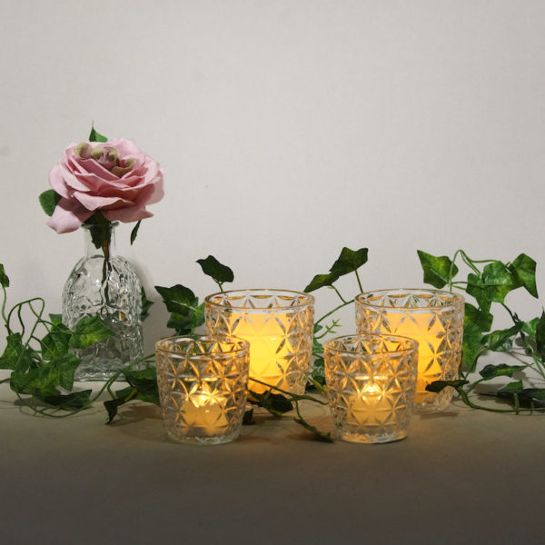 Glas Set Amsterdam in gold für Blumen und Teelichter als Tischdeko Centerpiece für Hochzeit mieten beim Dekorateur 1