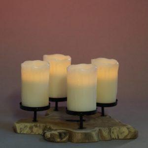 Kerzenhalter Ständer aus Holz Rustikal Vintage FourWood Four Wood Holzdeko Tischdeko mieten und leihen 2